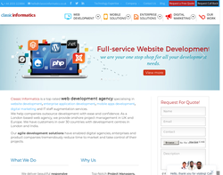 Screenshot of the Web Development Agency homepage
