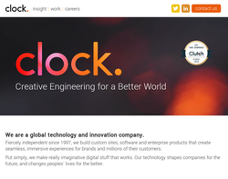 Screenshot of the Clock homepage