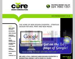 Screenshot of the Core Design Communications homepage