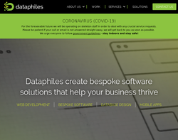 Screenshot of the Dataphiles Ltd homepage
