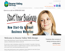 Screenshot of the Dearne Valley Web Design homepage