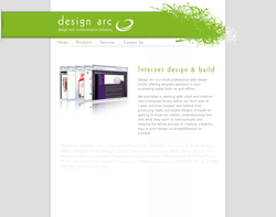 Screenshot of the Design Arc homepage