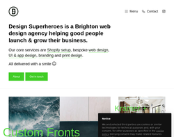 Screenshot of the Design Superheroes homepage