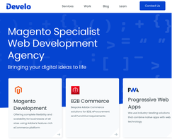 Screenshot of the Develo Design homepage