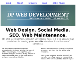 Screenshot of the DP Web Development homepage