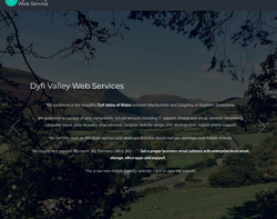 Screenshot of the Dyfi Valley Web Services homepage