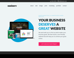 Screenshot of the EasiServ homepage