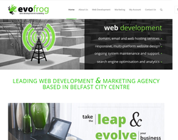 Screenshot of the Evofrog homepage