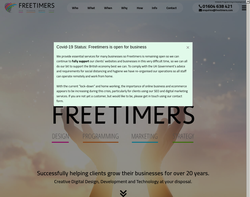 Screenshot of the Freetimers Internet homepage