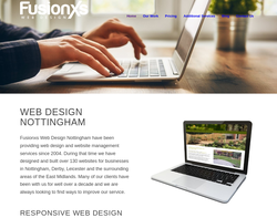 Screenshot of the Fusionxs Web Design homepage