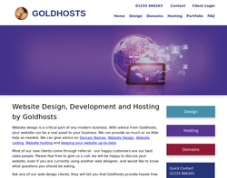 Screenshot of the GoldHosts homepage