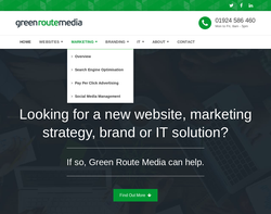 Screenshot of the Green Route Media homepage