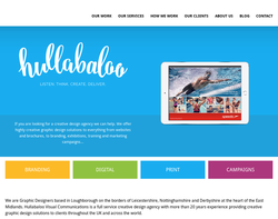 Screenshot of the Hullabaloo Visual Communications Limited homepage