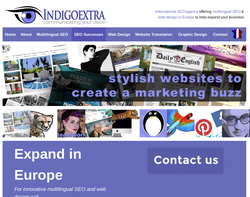 Screenshot of the Indigoextra Web Design homepage