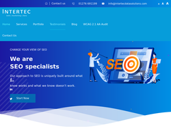 Screenshot of the Intertec Data Solutions homepage