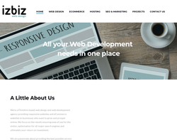 Screenshot of the Izbiz Web Design homepage