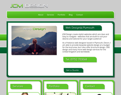 Screenshot of the JCM Design homepage