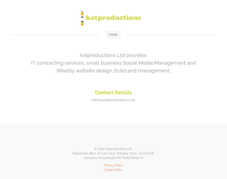 Screenshot of the Katproductions Limited homepage