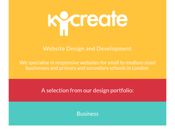Screenshot of the Kcreate homepage