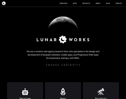 Screenshot of the Lunar Works homepage
