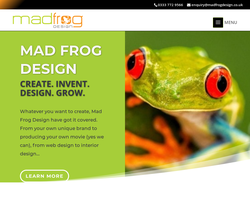 Screenshot of the Mad Frog Design Ltd homepage