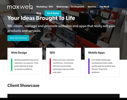 Screenshot of the Maxweb Solutions homepage