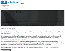 Screenshot of the MDS Solutions homepage