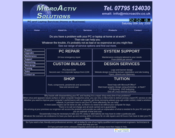 Screenshot of the MicroActiv Solutions homepage