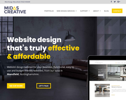 Screenshot of the Midas Creative homepage