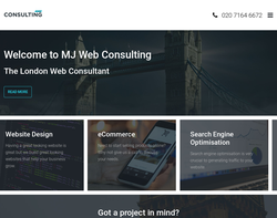 Screenshot of the MJ Web Consulting homepage