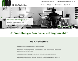 Screenshot of the Notts Websites homepage