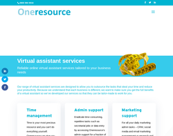 Screenshot of the Oneresource Virtual Assistants Ltd homepage