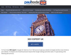 Screenshot of the SEO Services UK Paul Hoda homepage