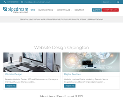 Screenshot of the Pipedream Design  homepage