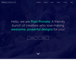 Screenshot of the Pixel Primate homepage
