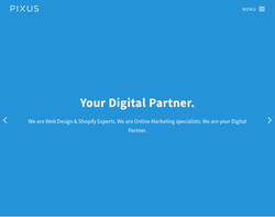 Screenshot of the Pixus homepage