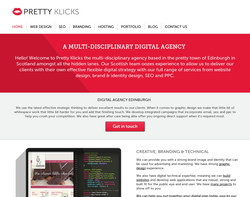Screenshot of the Pretty Klicks Creative Agency homepage