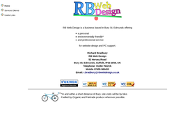 Screenshot of the RB Web Design homepage