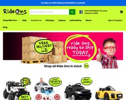 Screenshot of the Ride Ons homepage