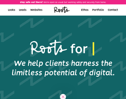 Screenshot of the Roots Creative Marketing homepage