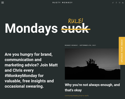 Screenshot of the Rusty Monkey homepage