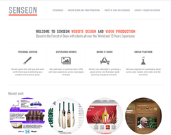 Screenshot of the Senseon Web Design Film & Video Production homepage