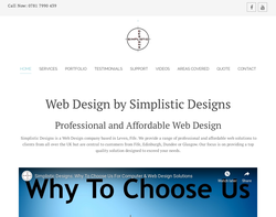 Screenshot of the Simplistic Designs homepage