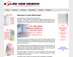 Screenshot of the Solar Web Design homepage