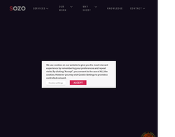 Screenshot of the Sozo Design homepage