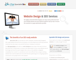 Screenshot of the Specialist SEO Web Design homepage