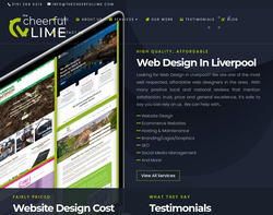 Screenshot of the The Cheerful Lime Web Services homepage