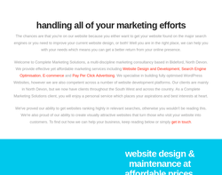 Screenshot of the Complete Marketing Solutions homepage