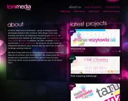Screenshot of the tommedia design homepage