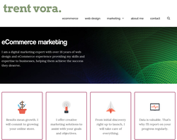 Screenshot of the Trent Vora homepage